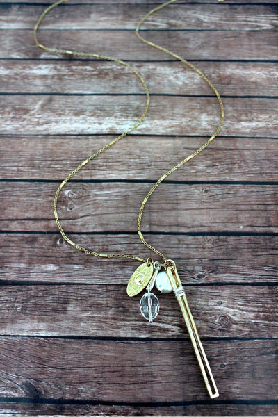 Crave Worn Two-Tone Wire Wrapped Bar Charm Pendant Necklace