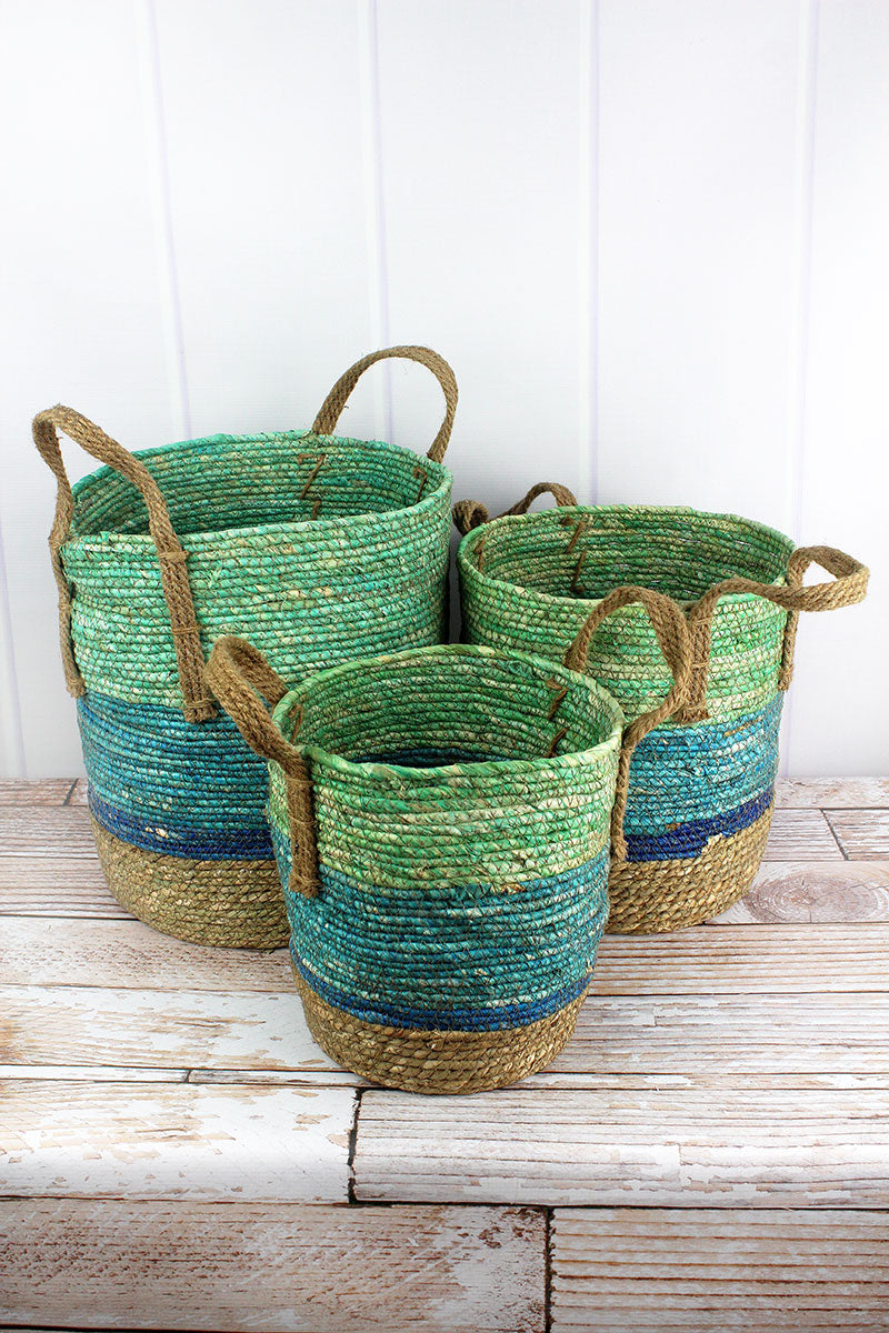 3 Piece Multi-Blue and Natural Tall Woven Basket Set