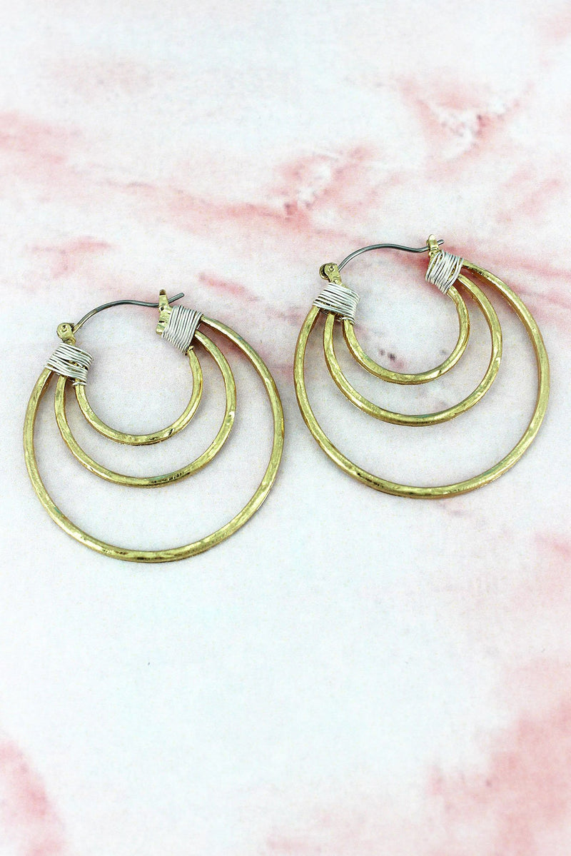 Crave Worn Two-Tone Wire Wrapped Layered Hoop Earrings