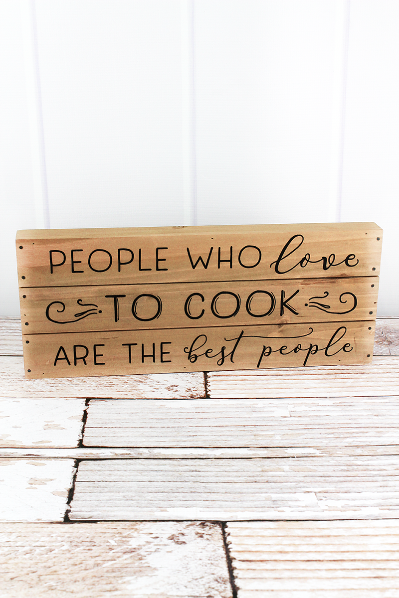 6.5 x 16 'Love To Cook' Wood Plank Sign
