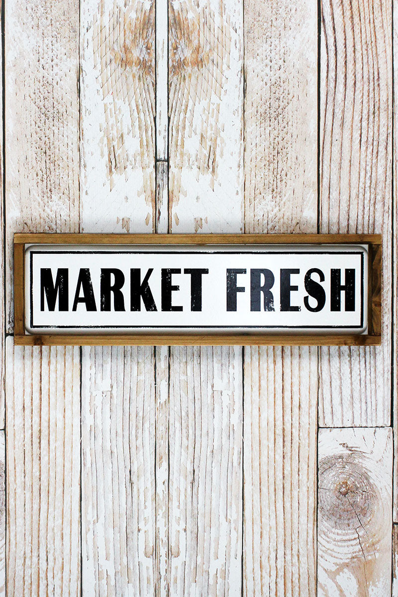 6.5 x 20.75 'Market Fresh' Wood Framed Enamel Sign