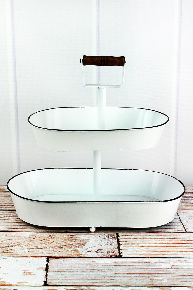 14 x 14.5 Enamel Two Tiered Oval Serving Tray