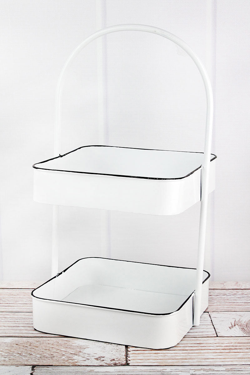 18.5 x 10 Enamel Two Tiered Serving Tray