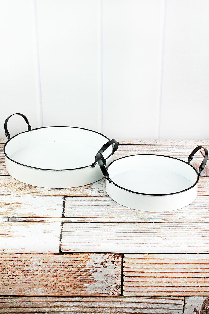2 Piece Enamel Nesting Tray Set