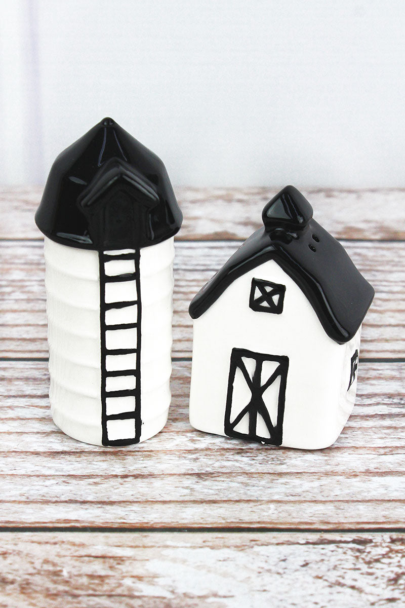 Ceramic Barn and Silo Salt & Pepper Shaker Set