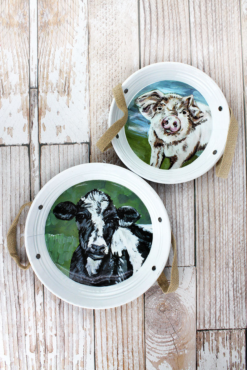 Set of 2 Farm Animal Metal and Burlap Trays