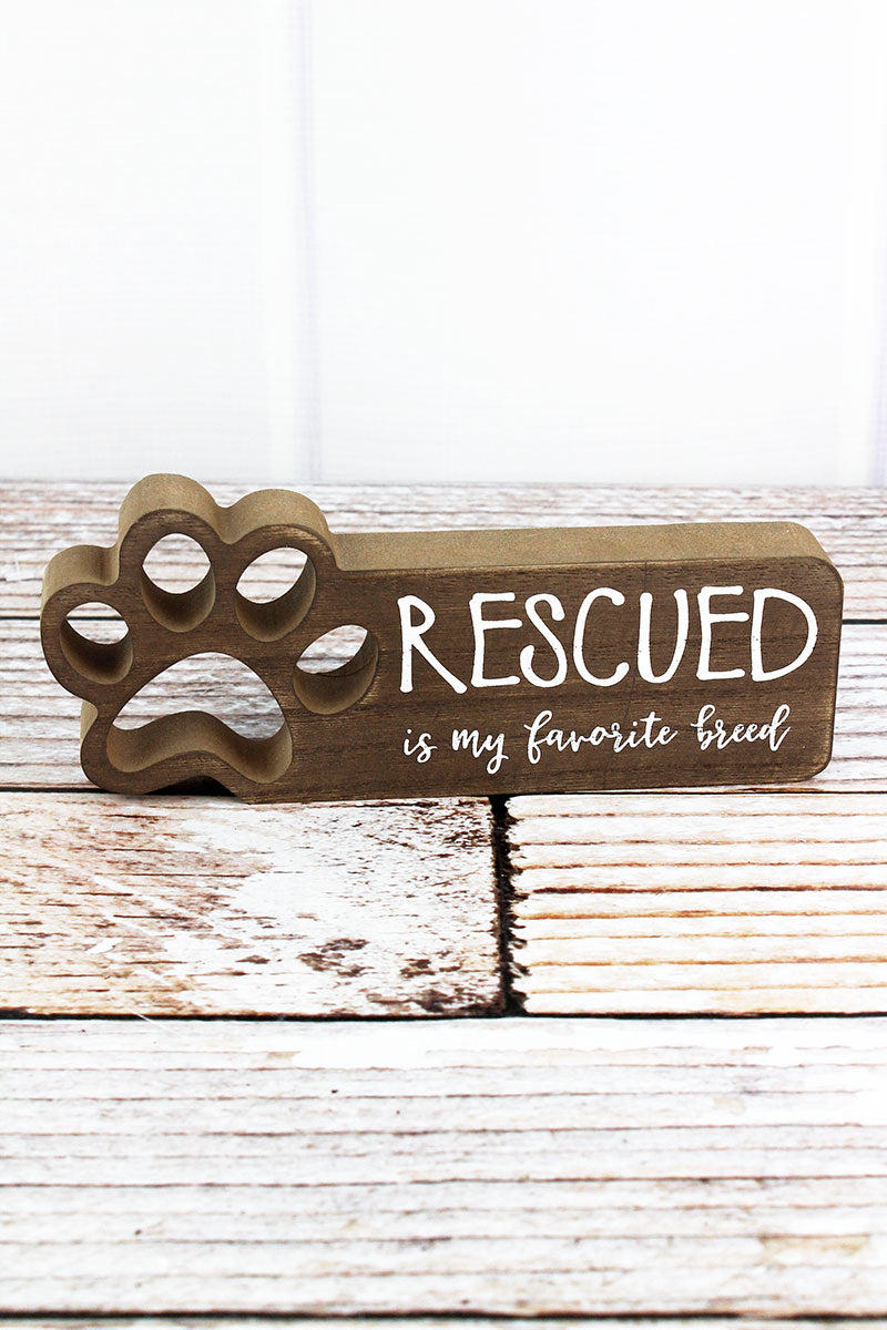 3.25 x 7.75 'Rescued' Cut-Out Paw Print Wood Box Sign