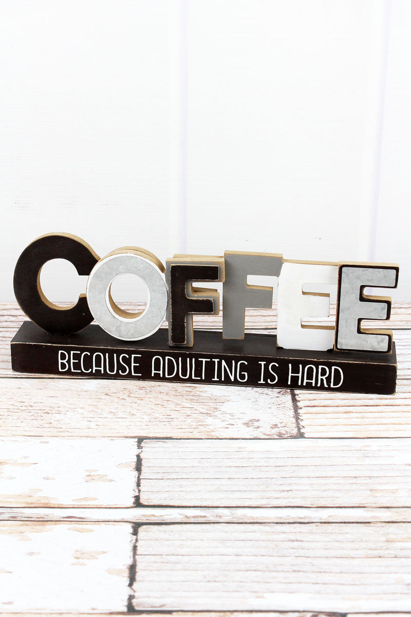 4.5 x 13.25 'Coffee' Wood Table Sign