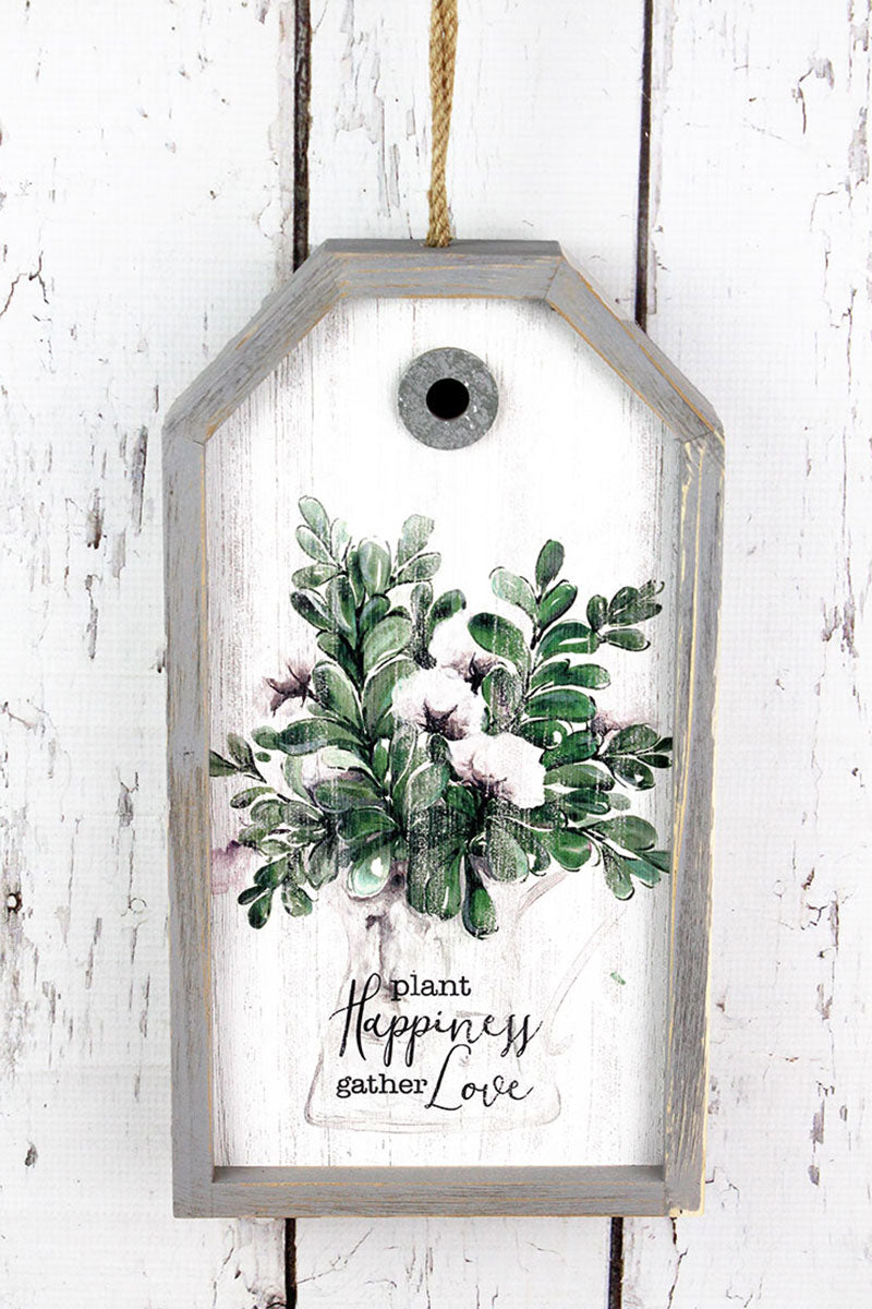 13.5 x 7.5 'Plant Happiness Gather Love' Wood Gift Tag Sign