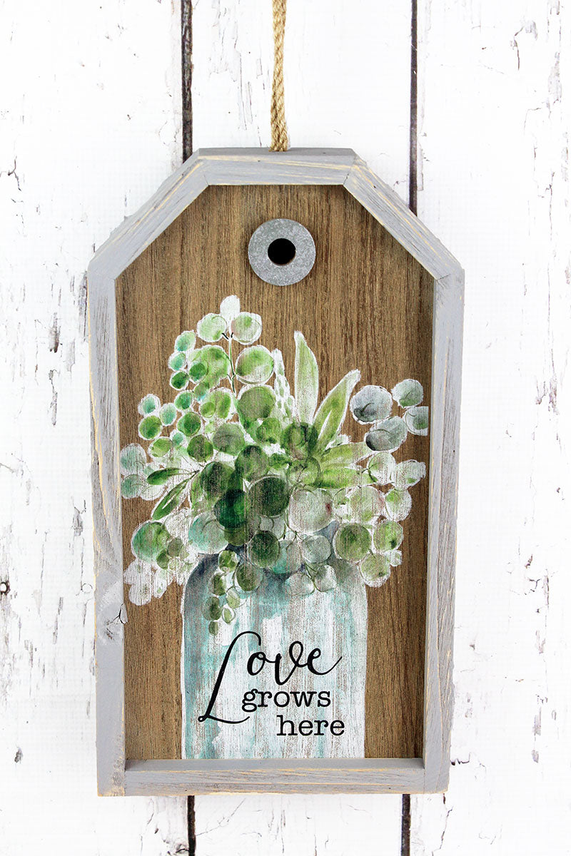13.5 x 7.5 'Love Grows Here' Wood Gift Tag Sign
