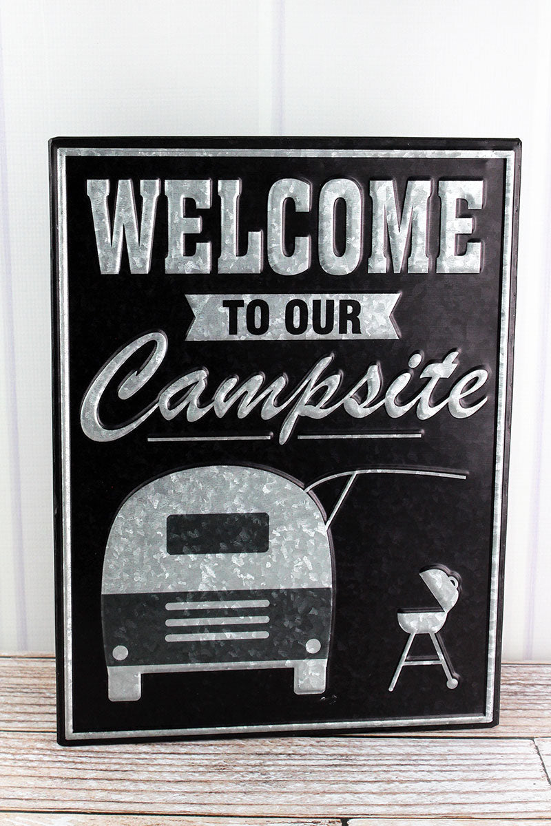 16 x 12 'Welcome To Our Campsite' Embossed Tin Wall Sign