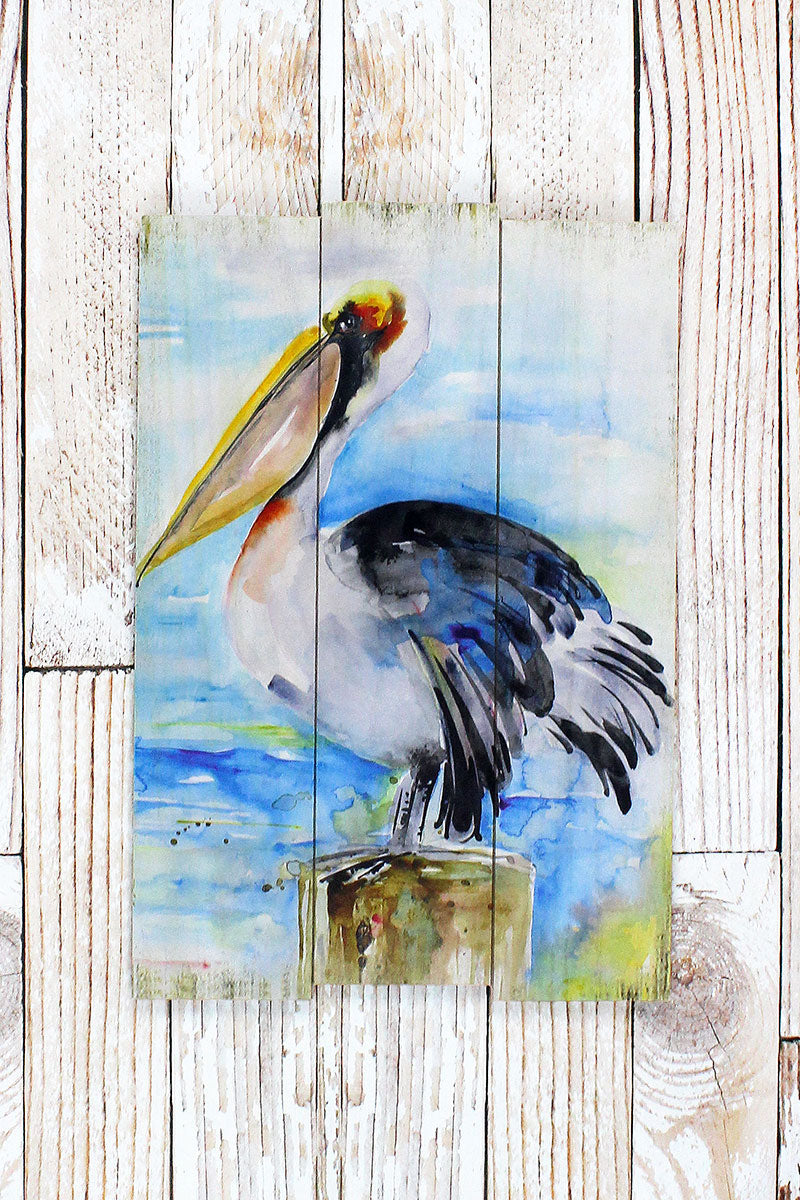 23 x 15.75 Watercolor Pelican Wood Wall Art