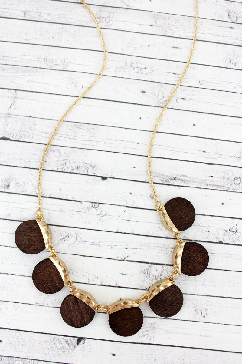 SALE! Goldtone and Wood Multi-Disk Necklace