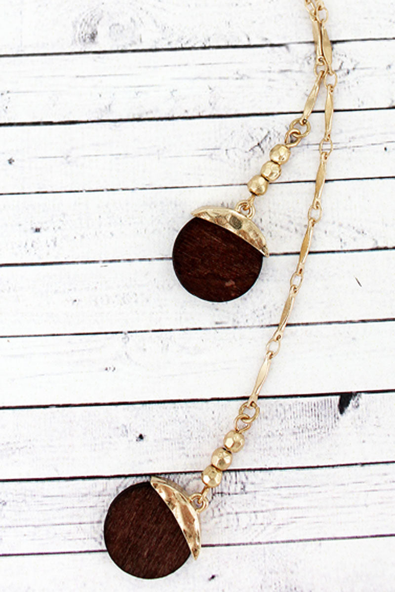 SALE! Goldtone and Wood Disk Double Y Necklace