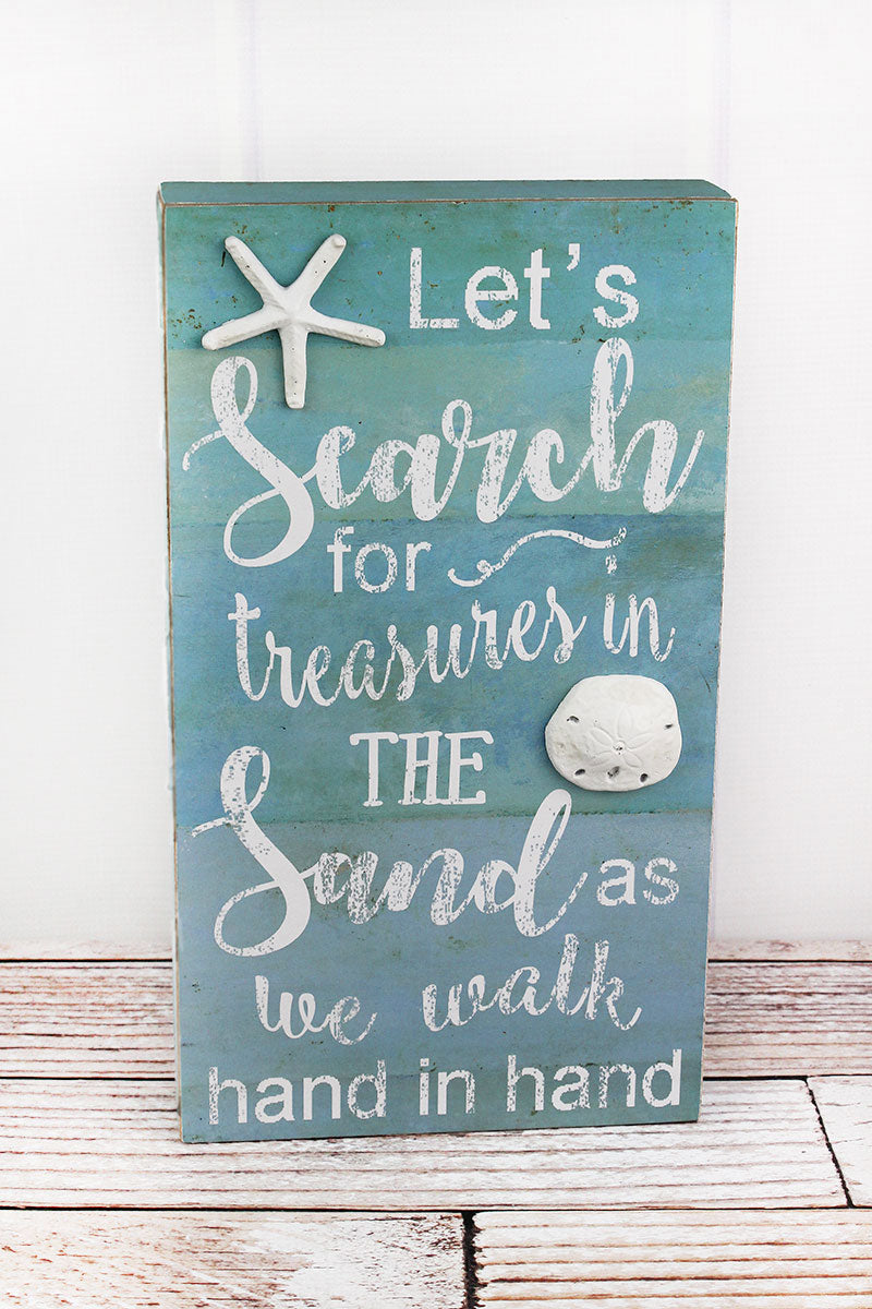 14 x 8 'Treasures In the Sand' Wood Box Sign