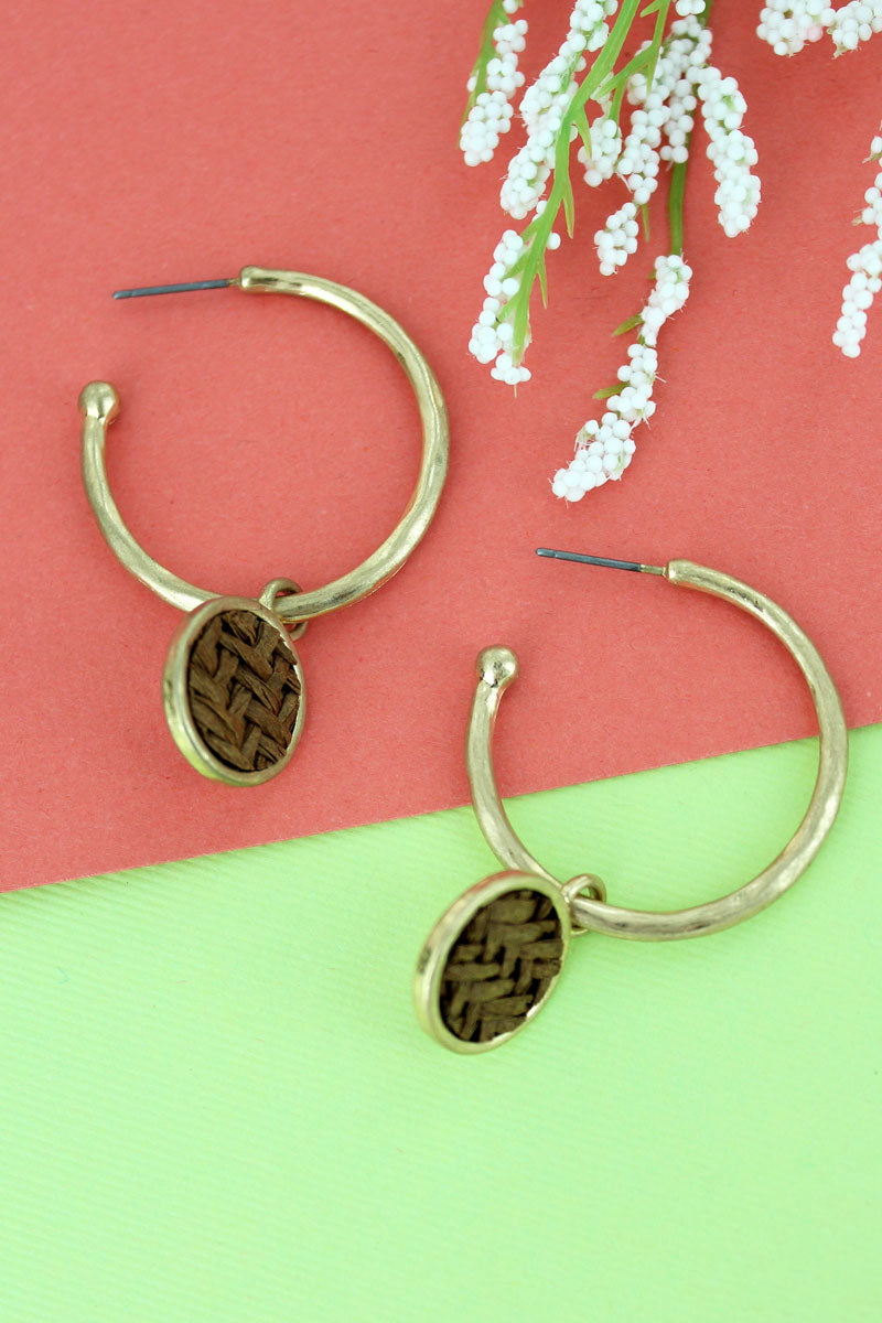 SALE! Brown Raffia Disk Goldtone Hoop Earrings