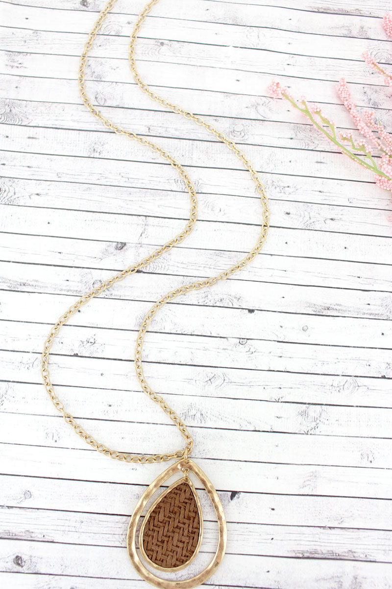 SALE! Brown Raffia and Goldtone Double Teardrop Pendant Necklace