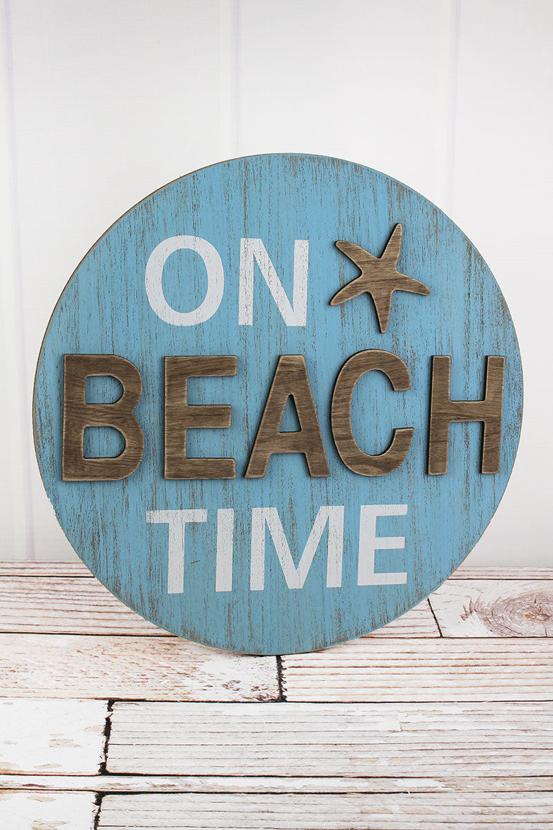 15.75 x 15.75 'On Beach Time' Round Wood Sign