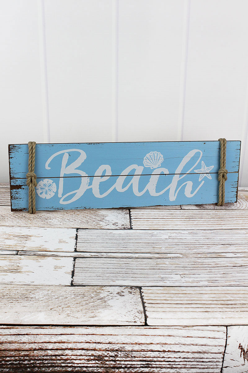 7.25 x 23.75 'Beach' Rope Accented Wood Wall Sign