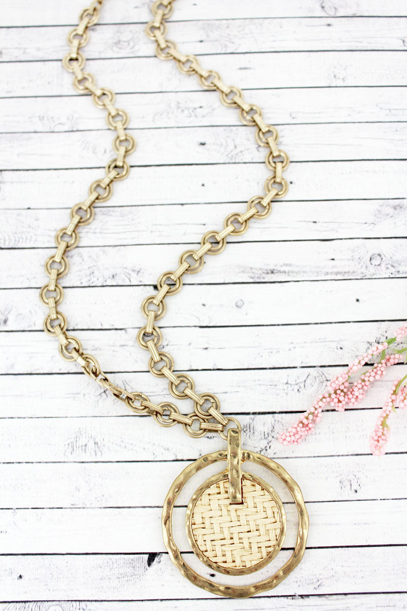SALE! Ivory Raffia and Goldtone Orbital Disk Pendant Necklace