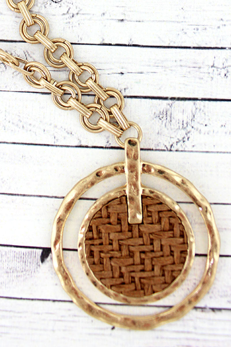 SALE! Brown Raffia and Goldtone Orbital Disk Pendant Necklace