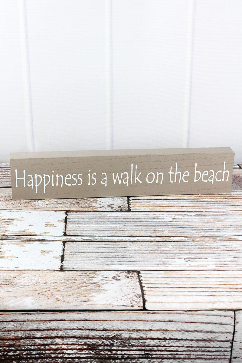 3.75 x 19 'Happiness Is A Walk On The Beach' Wood Box Sign