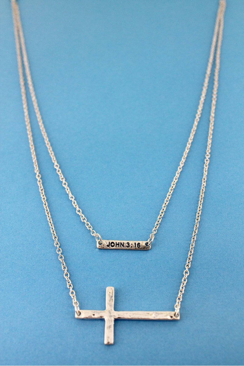 Crave Layered Worn Silvertone 'John 3:16' Bar and Cross Necklace