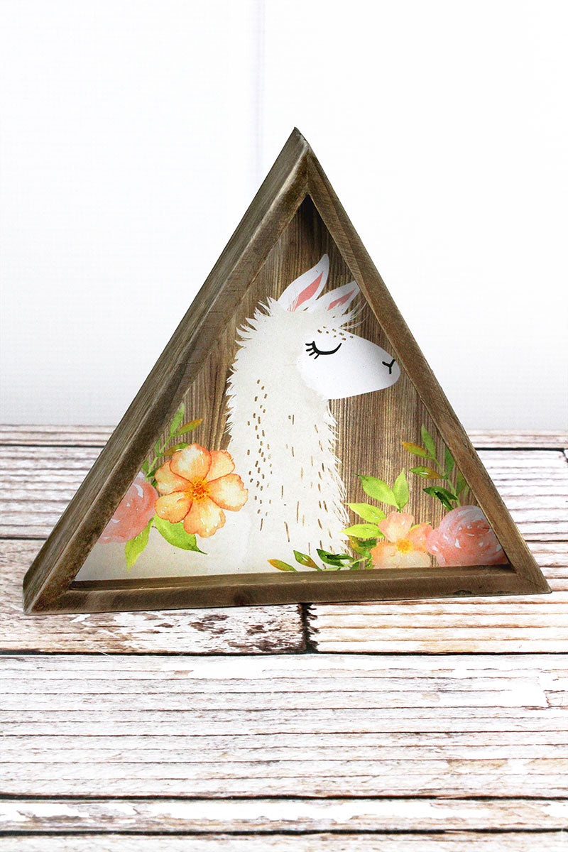 7.5 x 8.5 Llama Profile with Flowers Wood Triangle Tabletop Sign