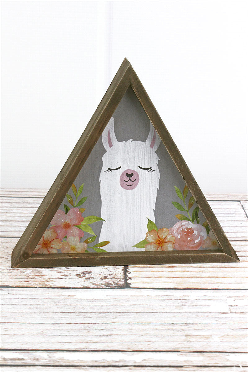 7.5 x 8.5 White Llama with Flowers Wood Triangle Tabletop Sign