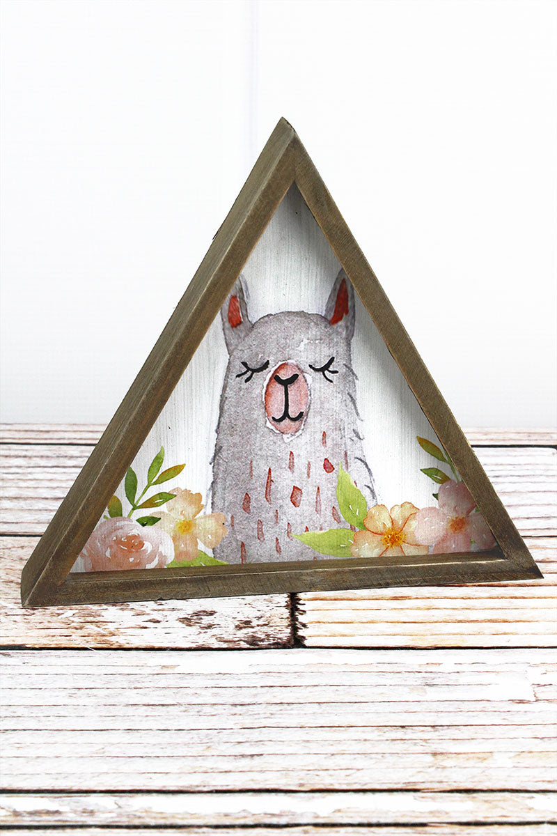 7.5 x 8.5 Gray Llama with Flowers Wood Triangle Tabletop Sign