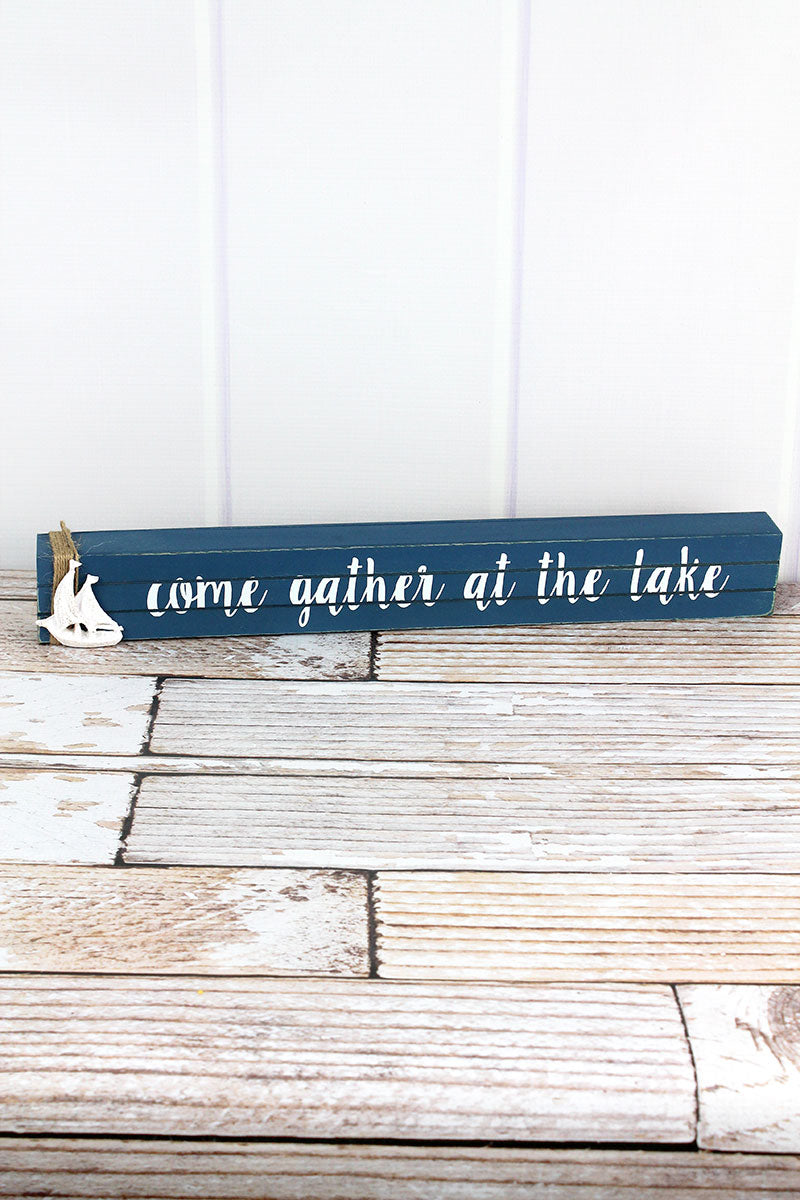 2.25 x 19 'Come Gather At The Lake' Wood Box Sign
