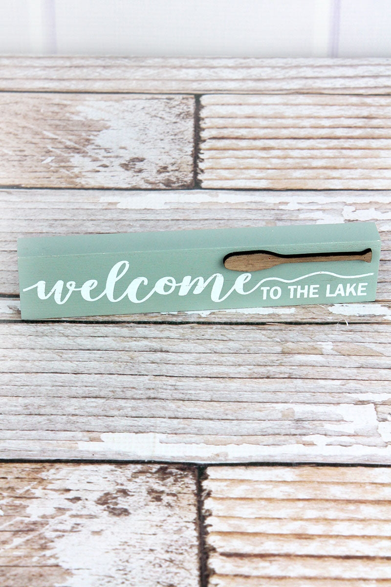 1.5 x 7.25 'Welcome To The Lake' Wood Block Sign