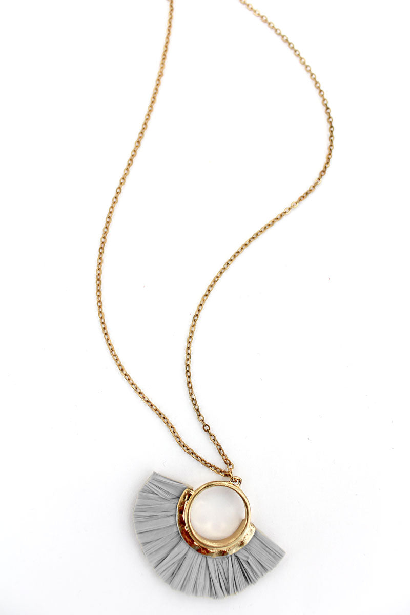Goldtone and Gray Raffia Half Moon Necklace