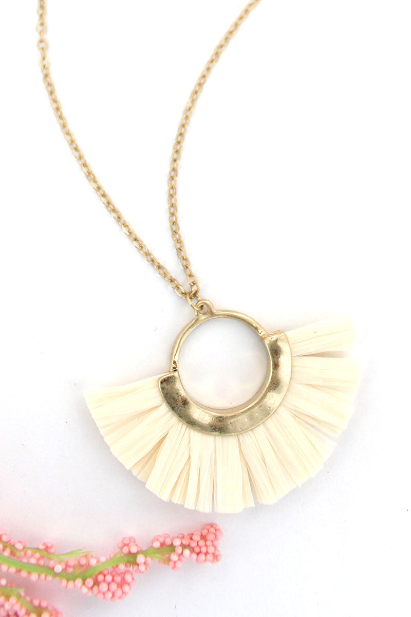 Goldtone and Ivory Raffia Half Moon Necklace