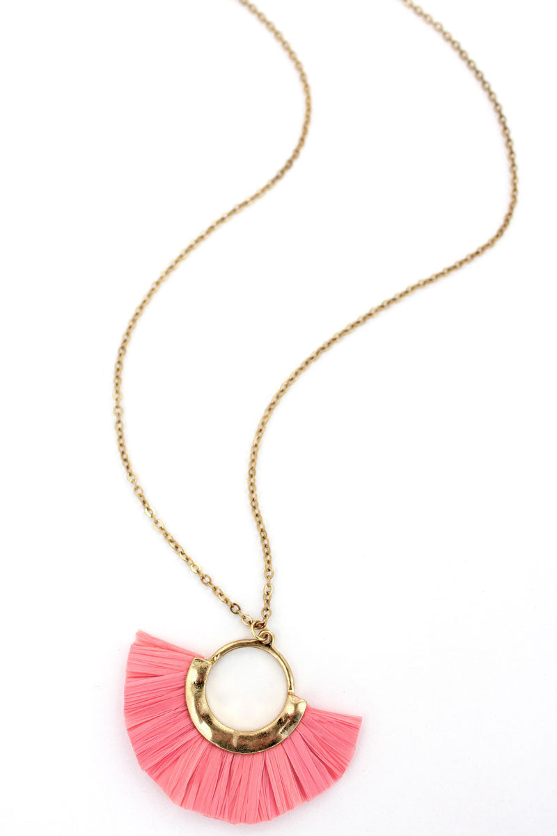 Goldtone and Pink Raffia Half Moon Necklace