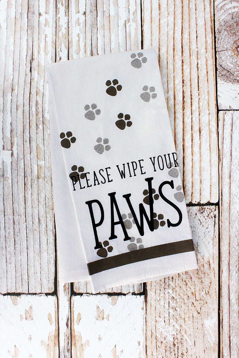 Please Wipe Your Paws Tea Towel