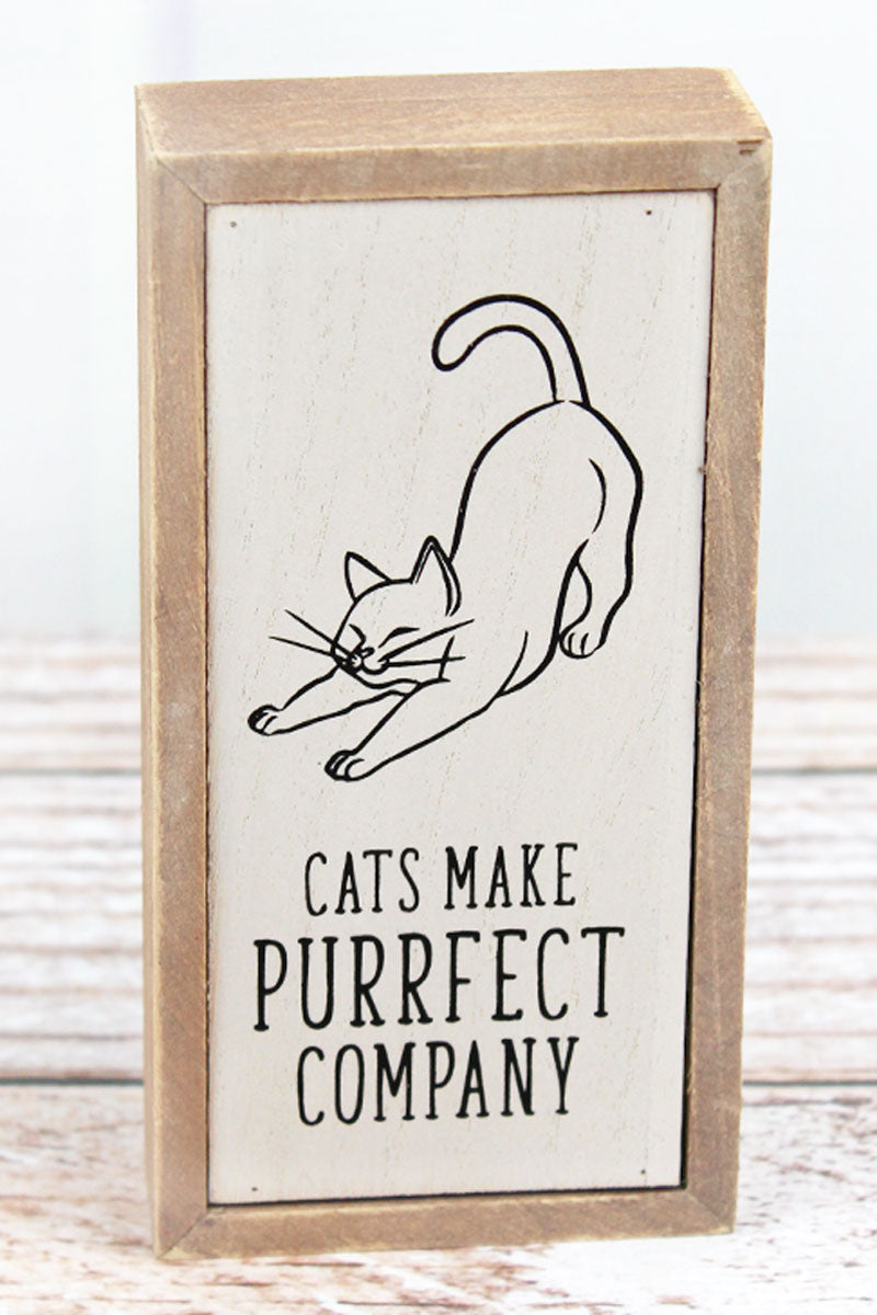 6 x 3 'Cats Make Purrfect Company' Wood Tabletop Box Sign