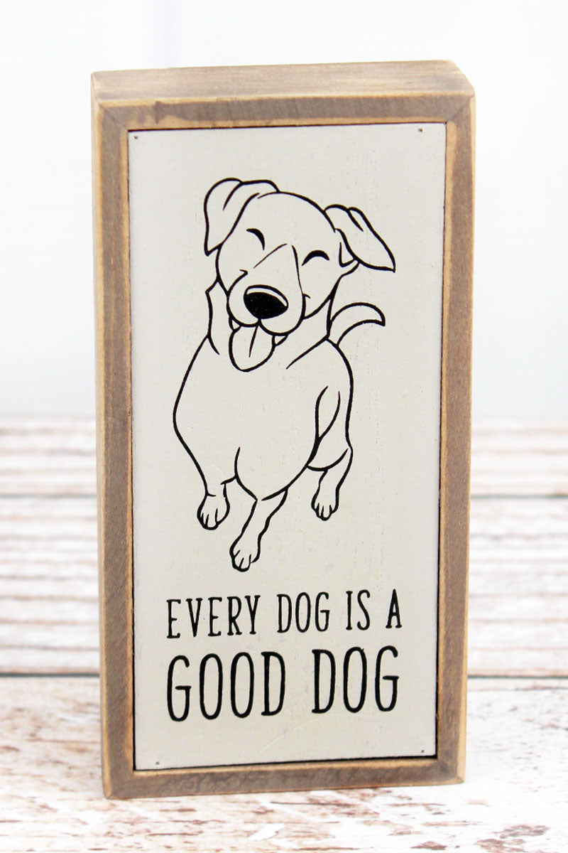 6 x 3 'Good Dog' Wood Tabletop Box Sign