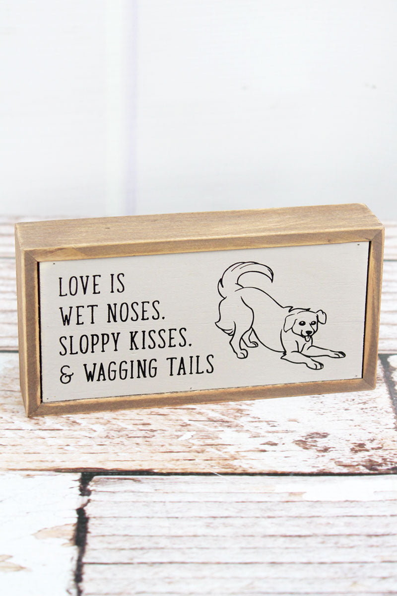 3 x 6 'Wagging Tails' Wood Tabletop Box Sign