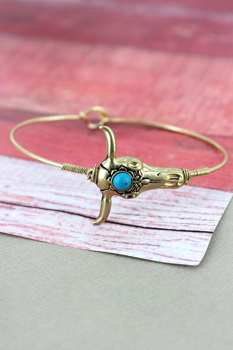 Crave Goldtone and Turquoise Bead Steer Skull Bangle
