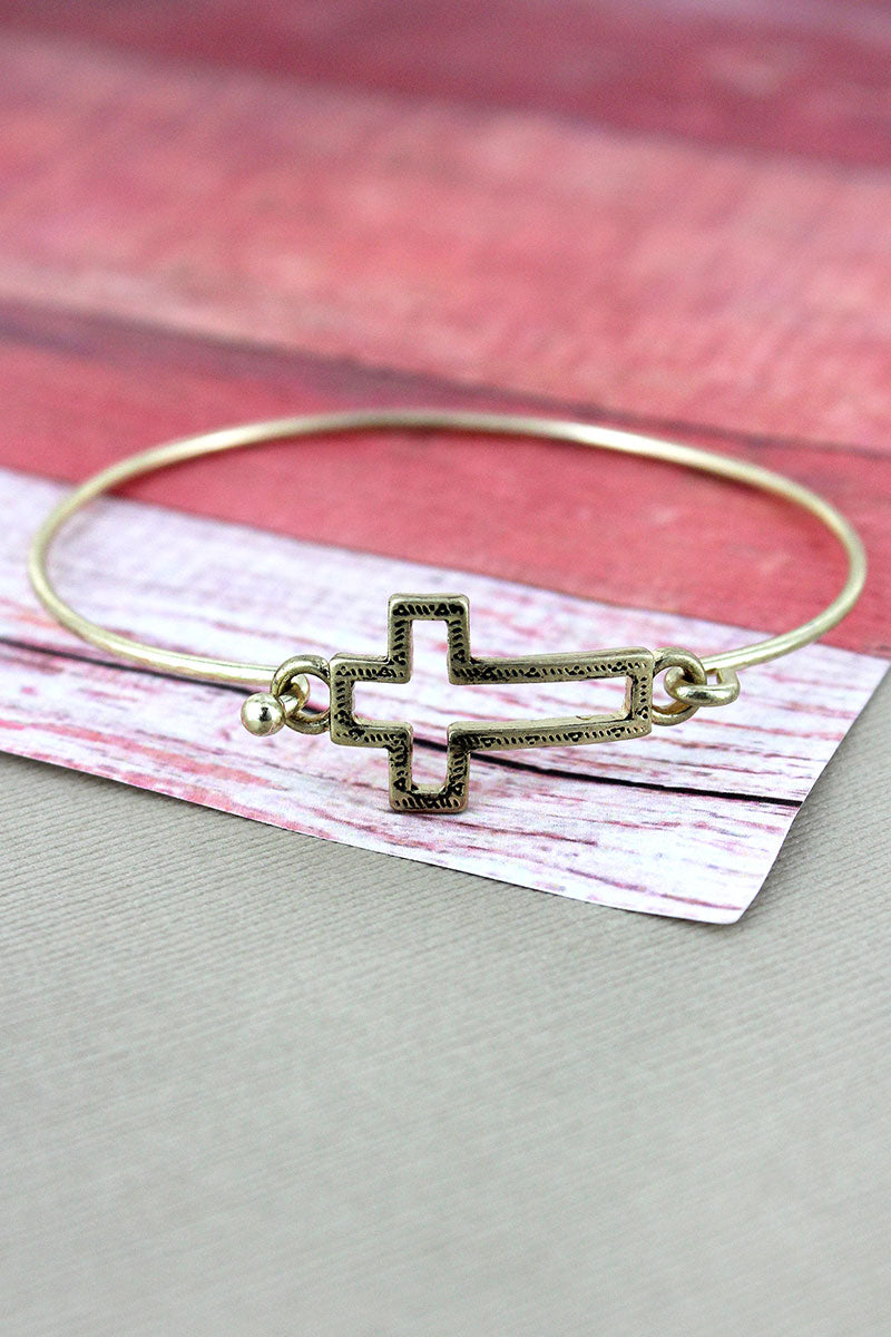 Crave Goldtone Open Cross Bangle