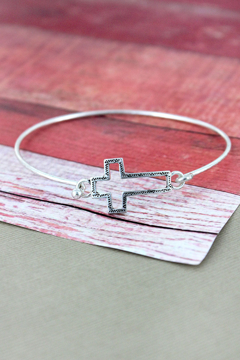 Crave Silvertone Open Cross Bangle