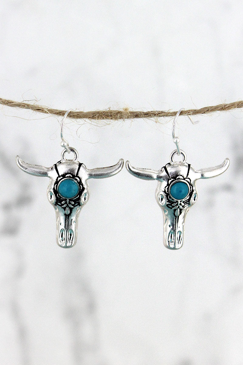 Crave Silvertone and Turquoise Bead Steer Skull Earrings