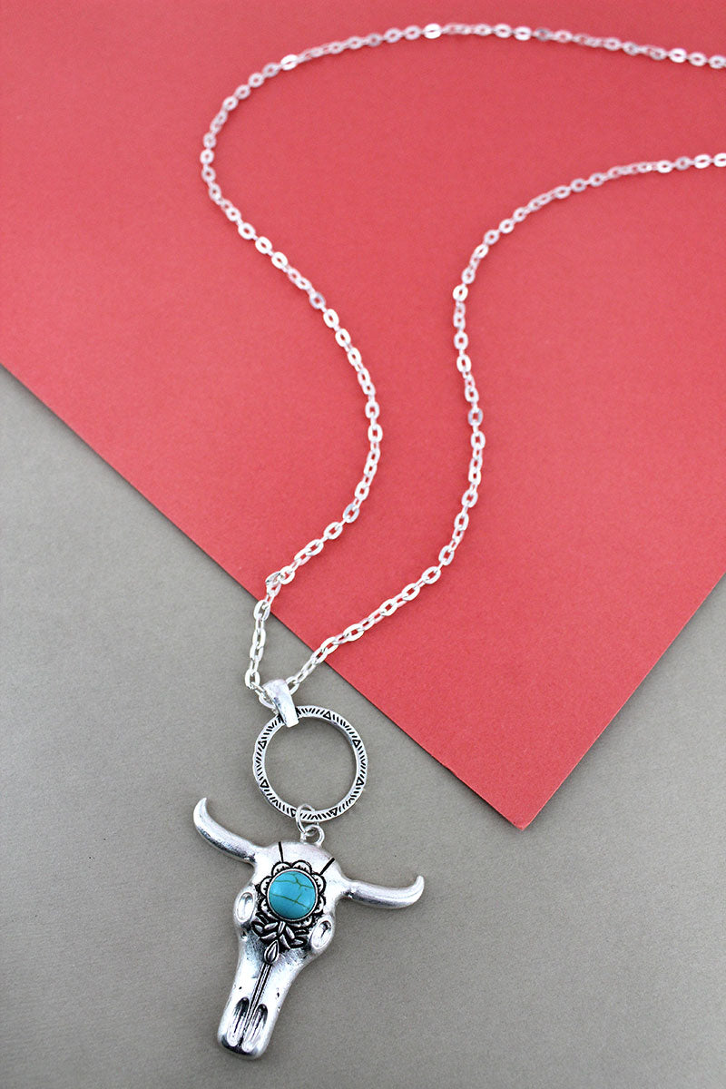 Crave Silvertone and Turquoise Bead Steer Skull Necklace