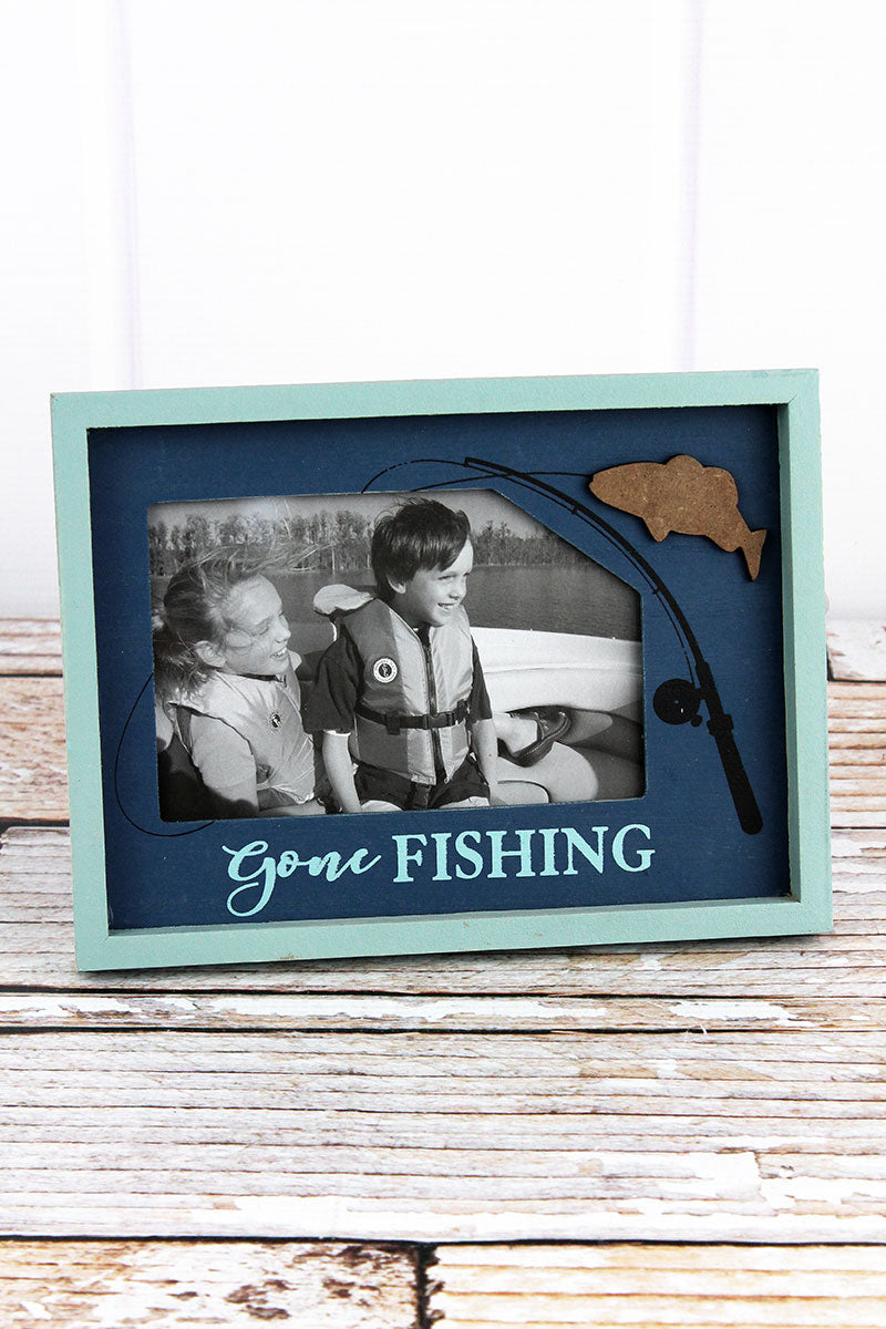 6.25 x 8.5 'Gone Fishing' Wood 4x6 Photo Frame