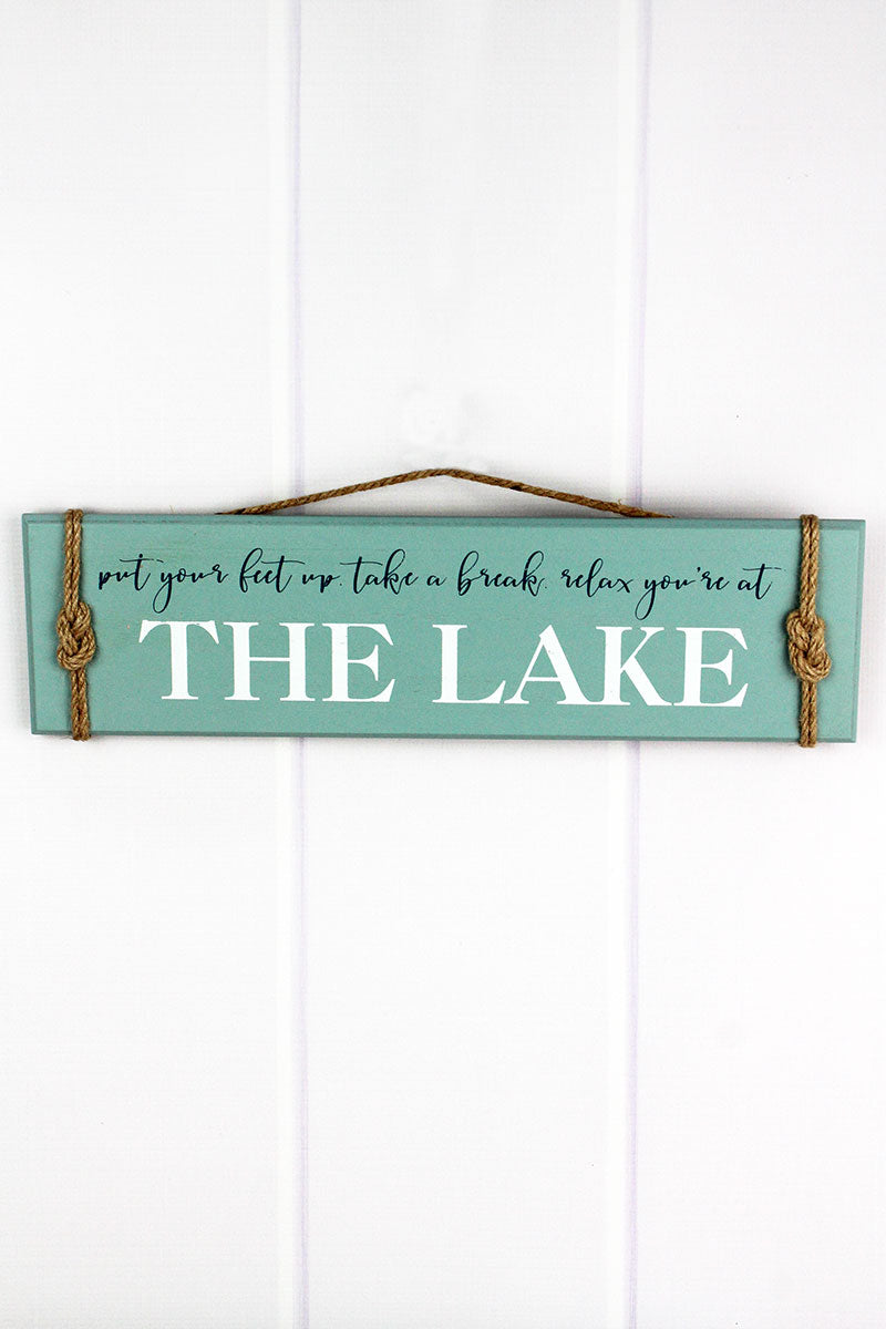 5.25 x 18.75 'Relax You're At The Lake' Rope Accented Wood Wall Sign