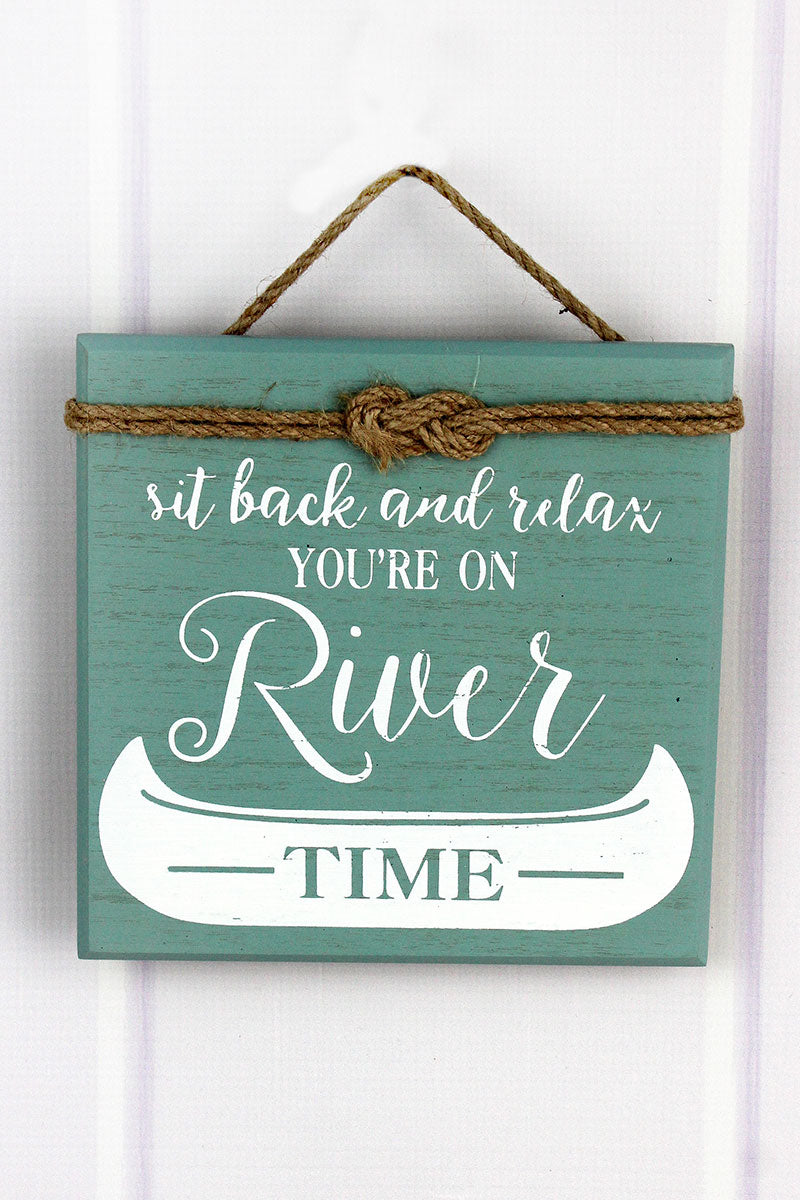 8 x 8 'You're On River Time' Rope Accented Wood Sign