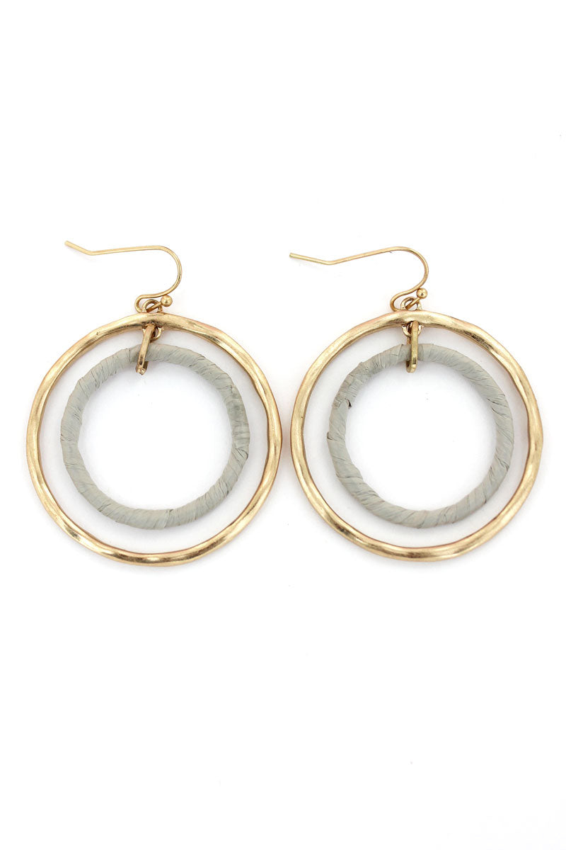 Crave Goldtone and Gray Raffia Double Hoop Earrings