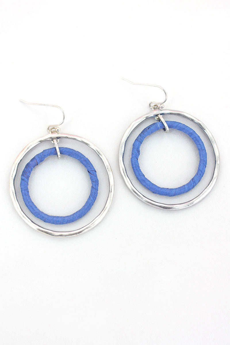 Crave Silvertone and Blue Raffia Double Hoop Earrings