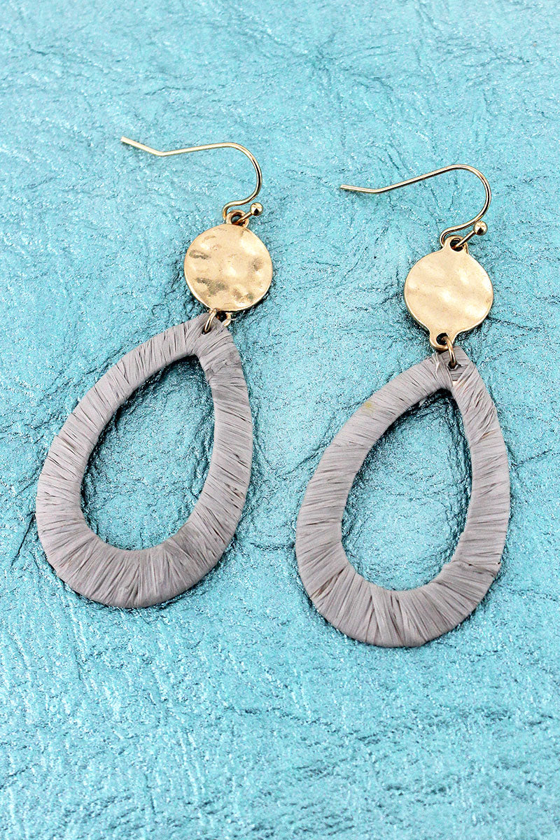 Crave Goldtone Disk and Gray Raffia Teardrop Earrings